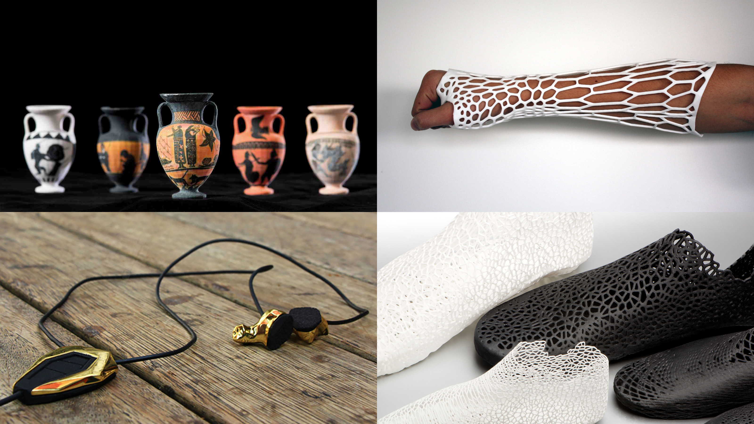 3D printed amphorae, cast, shoes and headphones