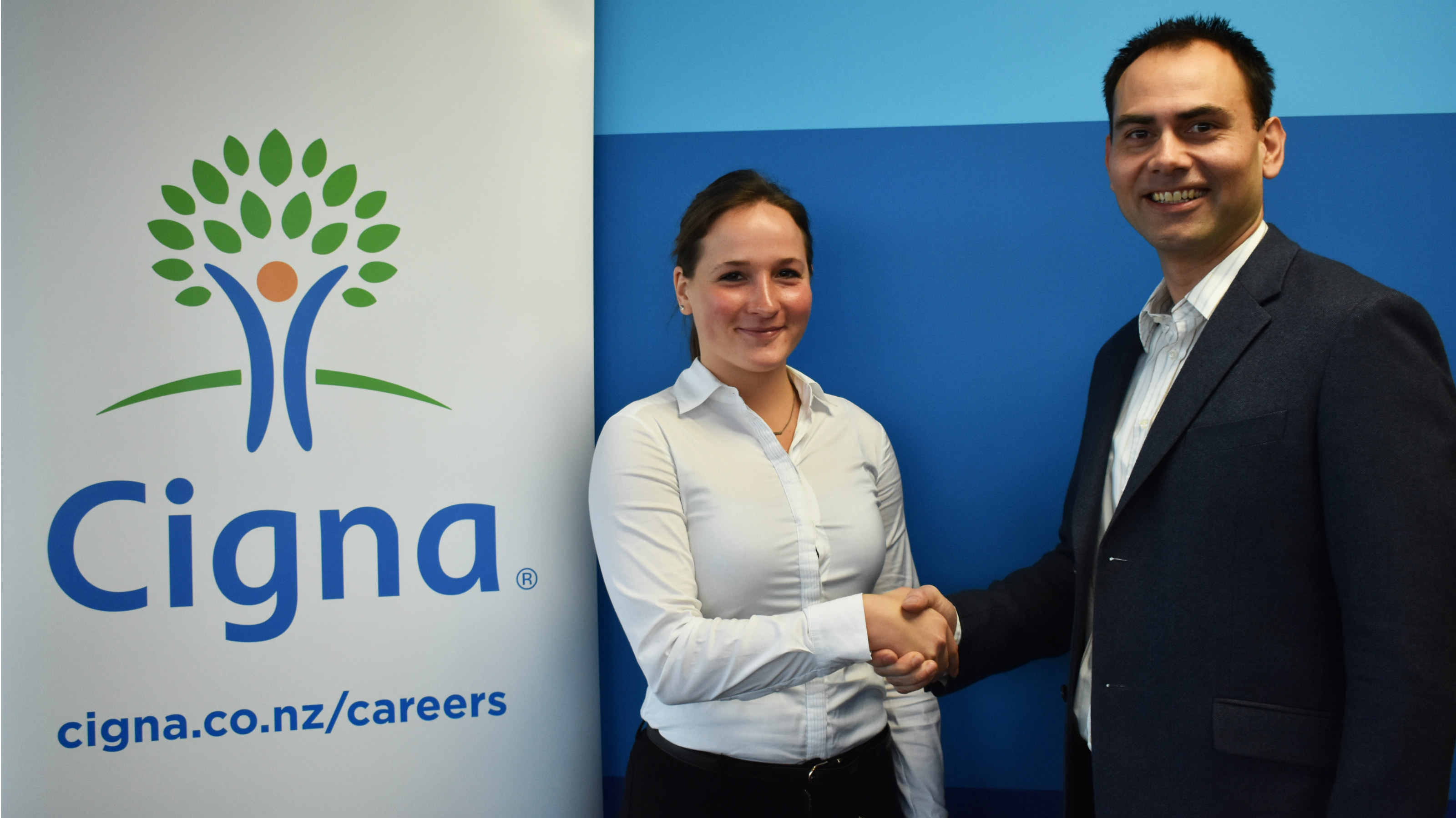 Cigna 2018 actuarial scholarship recipient, Clarissa Nowak, with Nathan Thomas, Head of Customer Propositions and Value at Cigna.