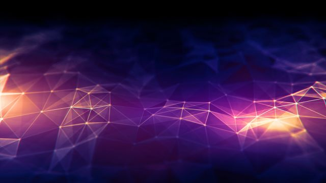 A light purple geometric pattern against a dark purple background.