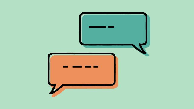 This icon depicts a conversation with two speech bubbles.