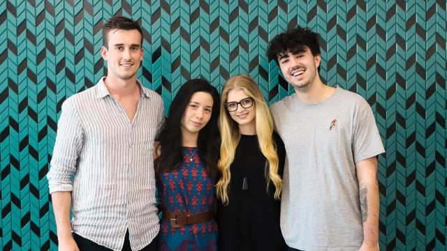 Sam Copp, Mikayla Stokes, Ana Warnock and Finn Carroll from Venture Up team Lavender