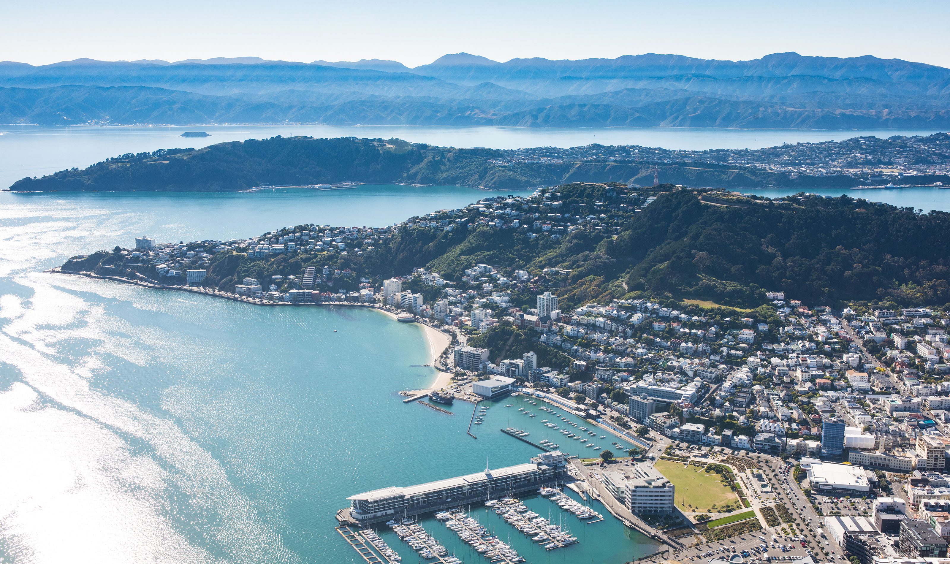 An aerial photo of Wellington harbour