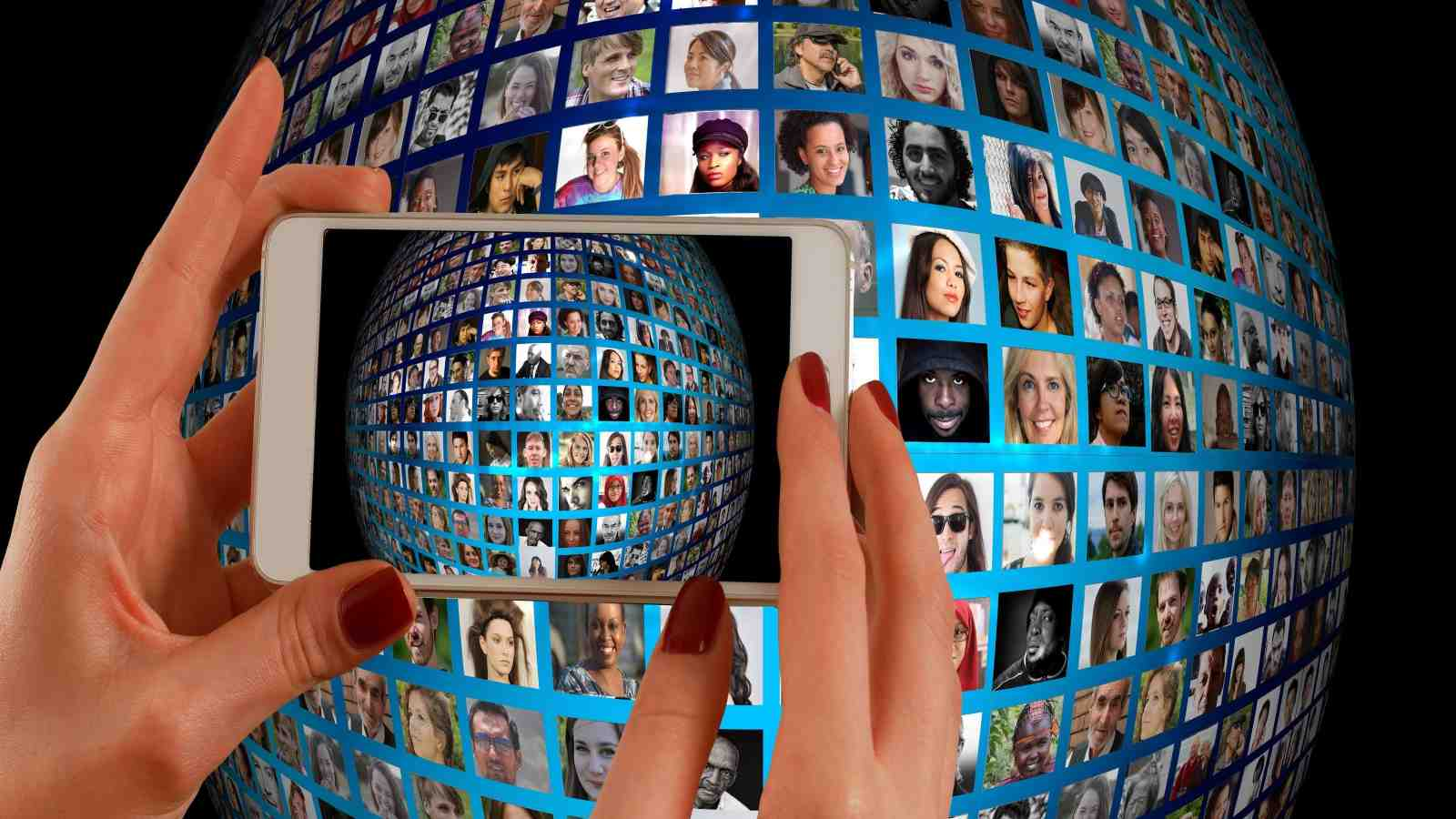 Cellphone camera viewing network of faces
