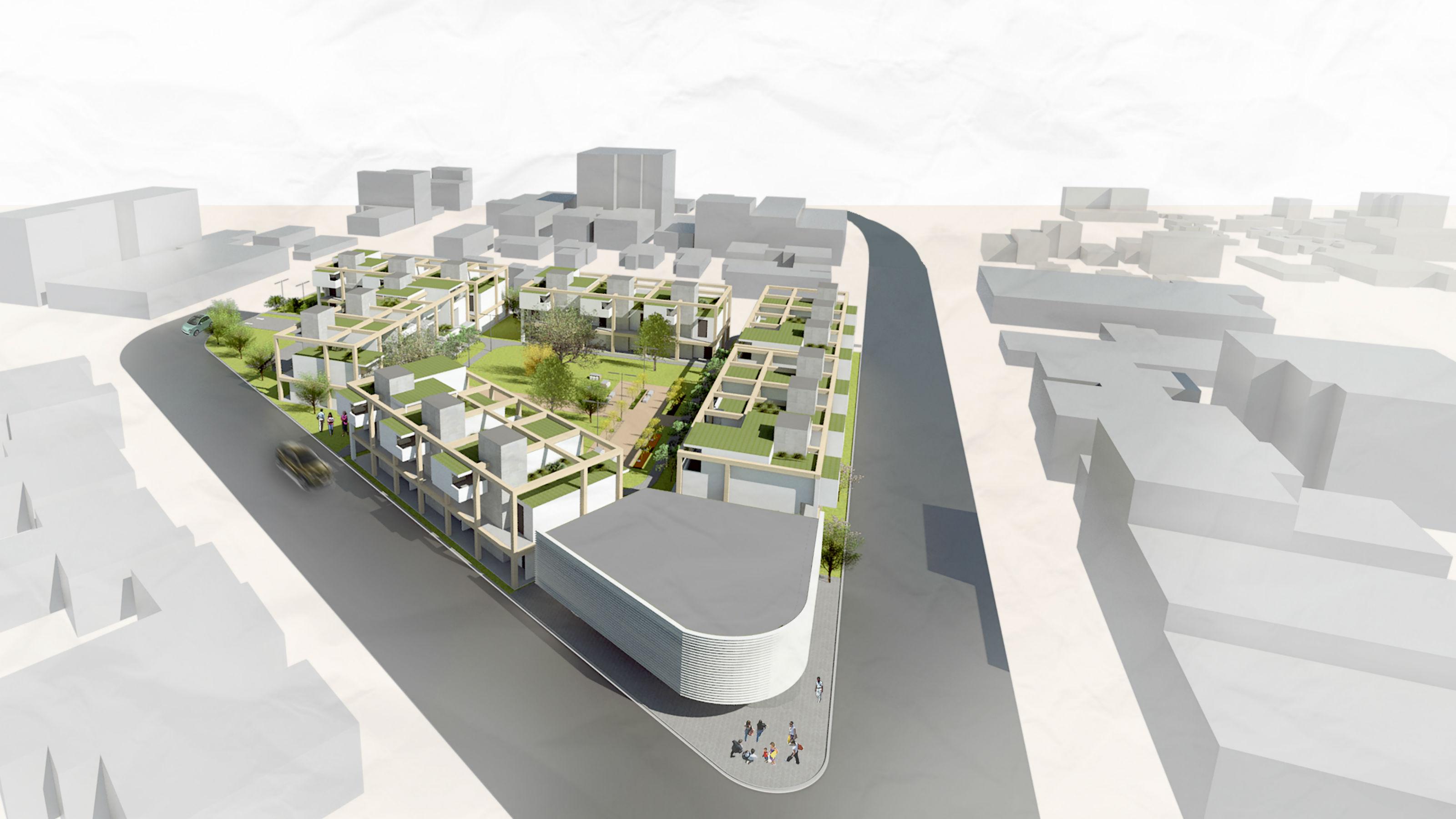 A bird's-eye view looking over a modular housing concept design