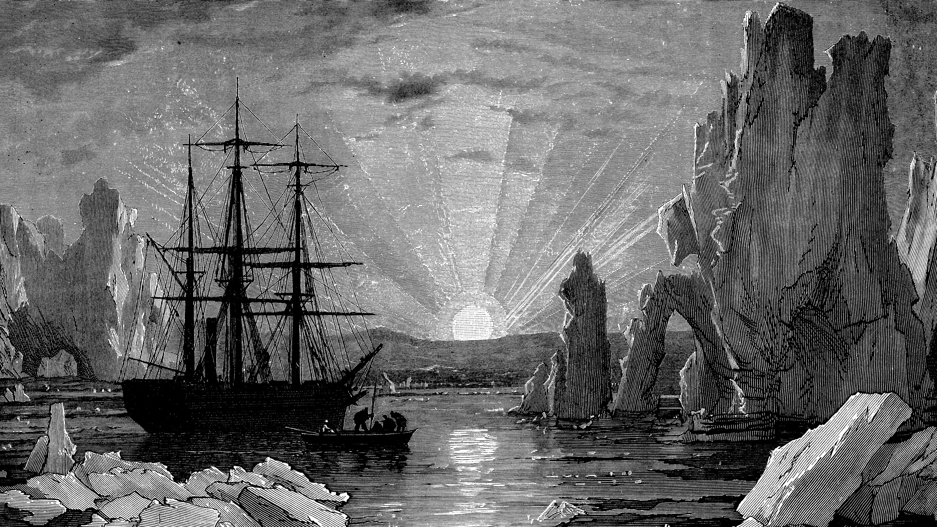 Drawing of 19th Century explorers in Antarctica.