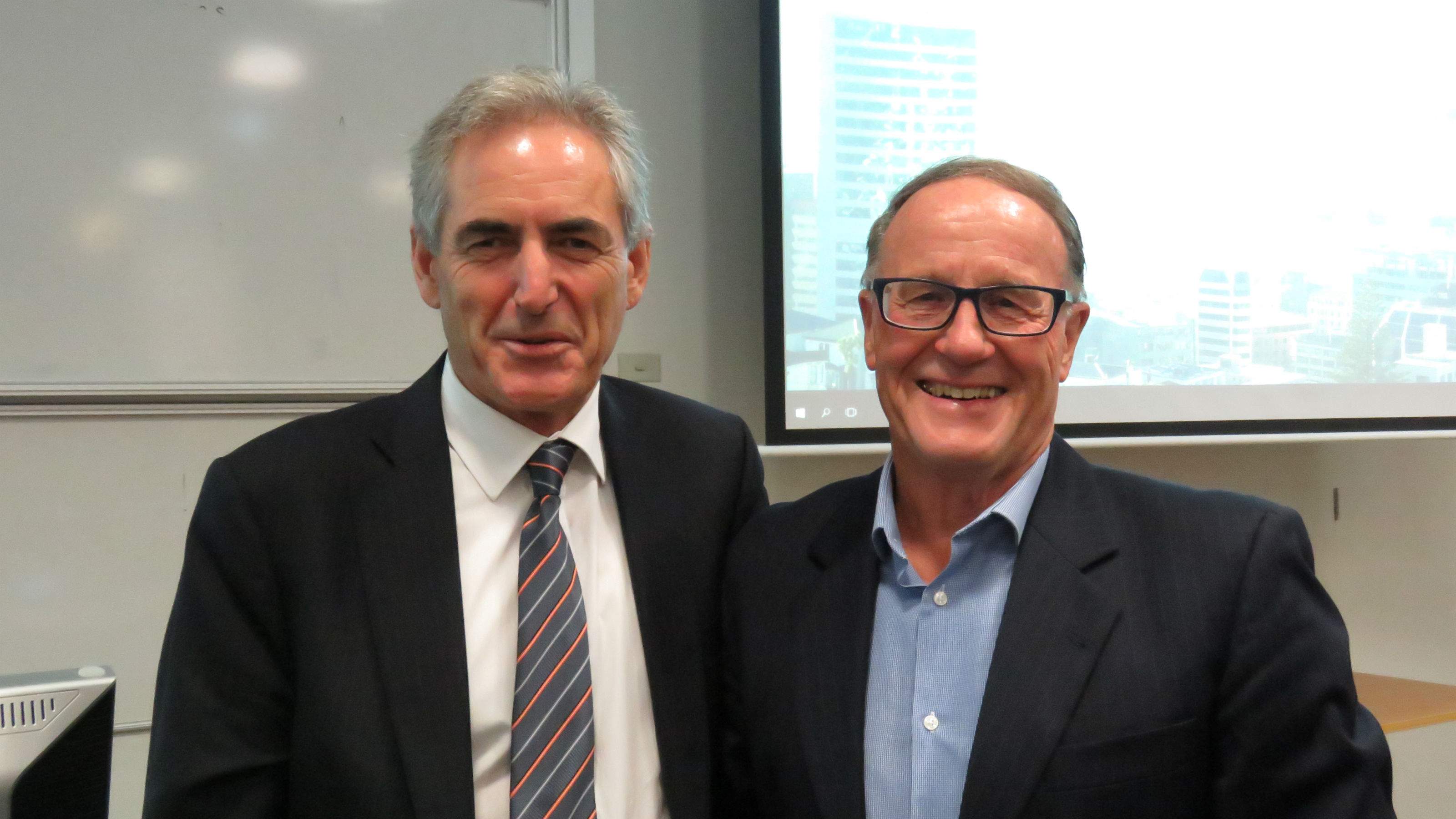 Professor Philip Morrison and Vice-Chancellor, Professor Grant Guildford, stand side-by-side at the event.