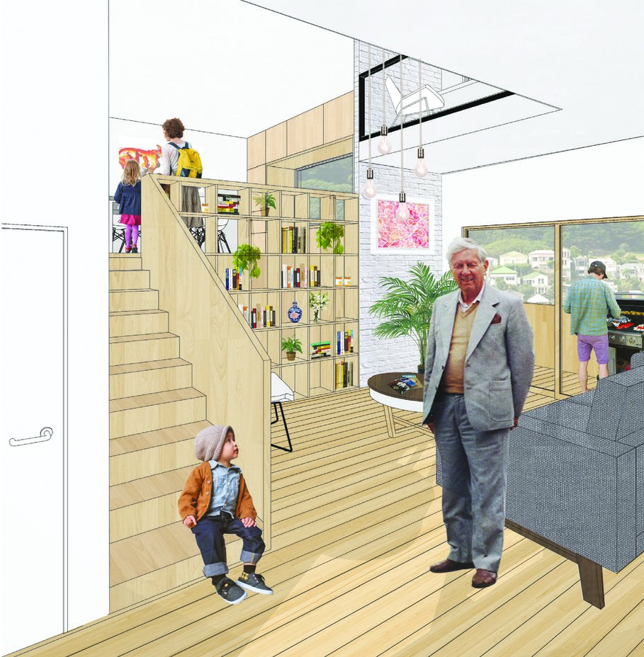 An animated indoor living space is juxtaposed with real images of humans using the space. A man in a grey suit looks out at us, as if to invite us into his vision.