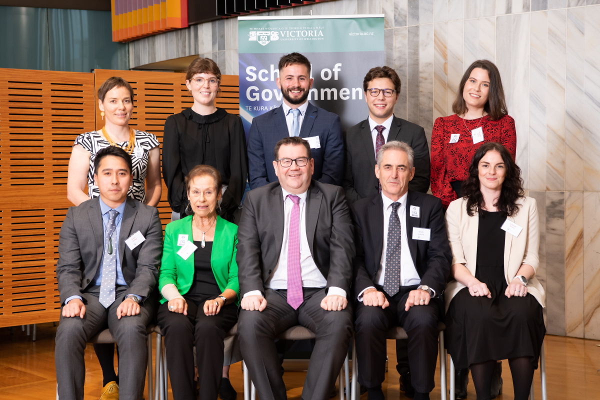 2019 School of Government prize-winners with Minister of Finance and Vice-Chancellor