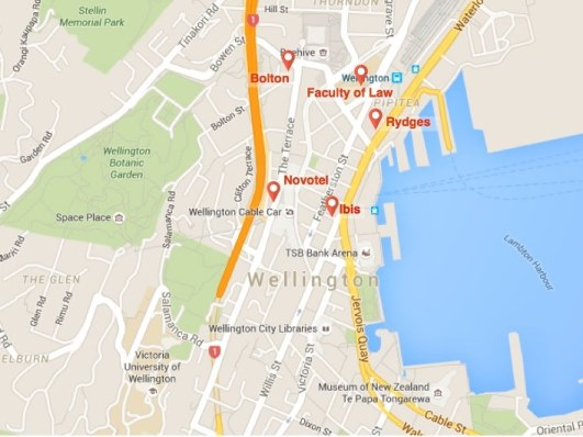 map of accommodation options for delegates
