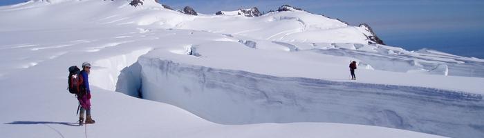 Measuring crevasse snow thickness, Franz Josef Glacier