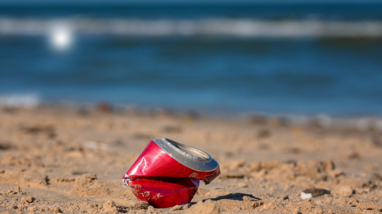 A piece of rubbish on a beach