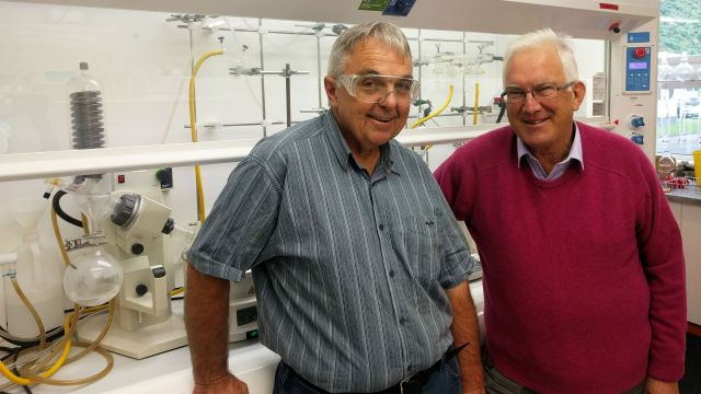 Peter Tyler stands with Richard Furneaux in a Ferrier lab