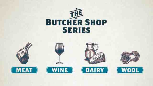 Butchershop series logo depicting meat, wine, dairy and wool