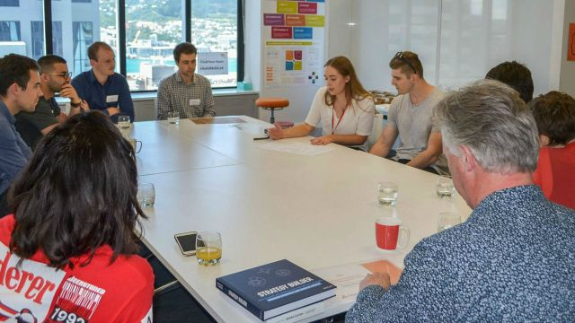 Victoria Business School students present their strategies to ThinkPlace