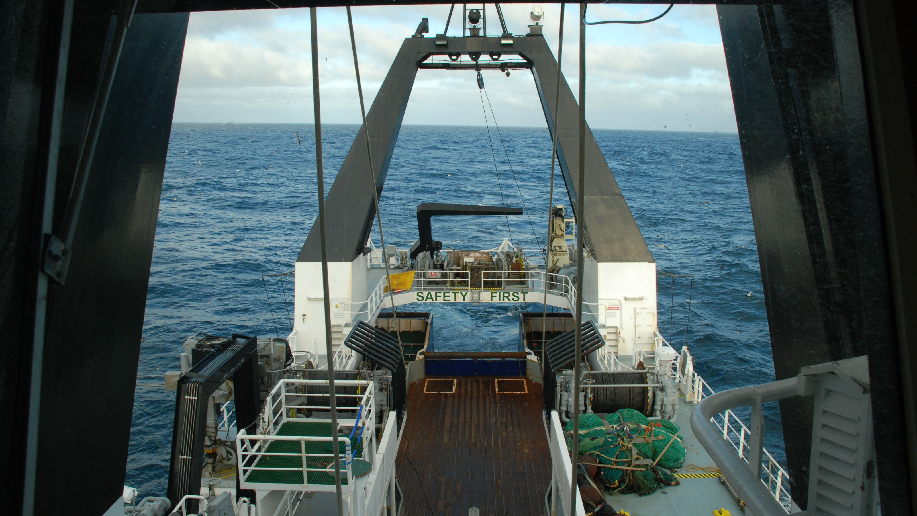 View from the captain's deck of the Tangaroa on the Chatham Rise.