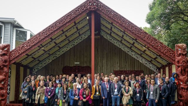 Delegates of the GSAA International Conference outside Te Herenga Waka Marae, 28 November 2018