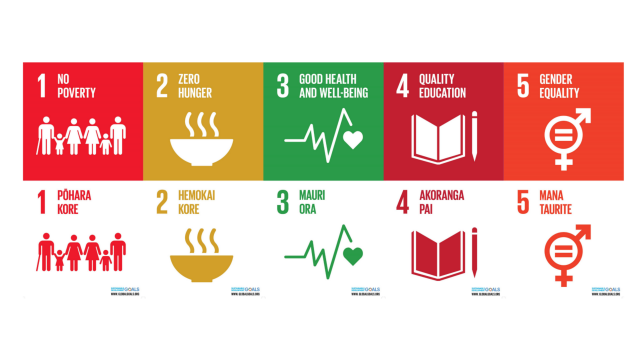 Five of the 17 posters showcasing Sustainability Development Goals