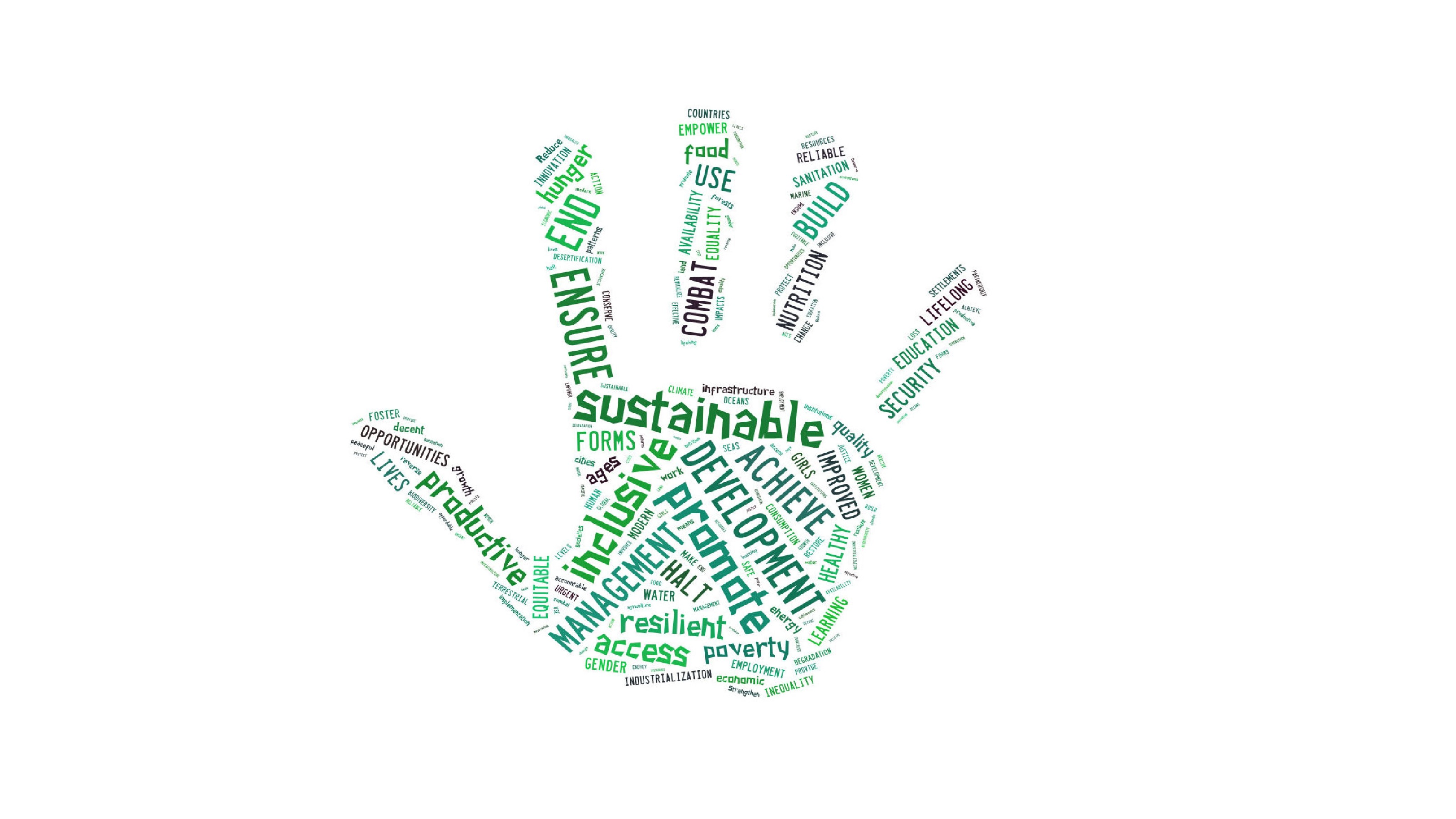 Sustainable development goals words in shape of hand.