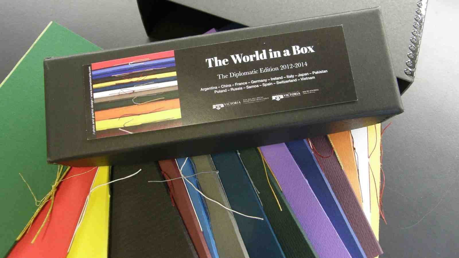 The World in a Box collection with it's colourful contents fanned out beneath the bow.