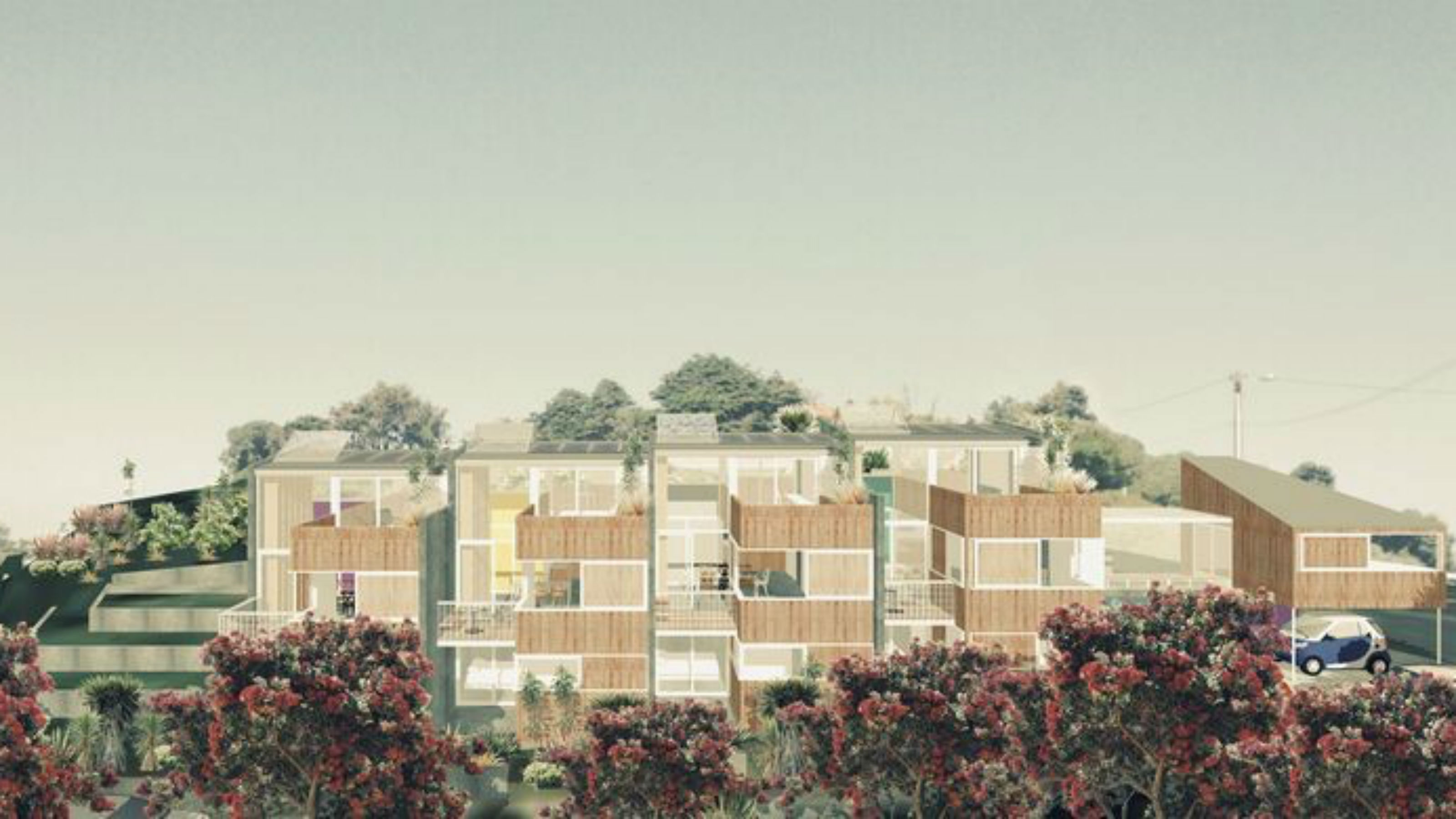 Conceptual view for an emerging Wellington CoHousing project by Spacecraft Architects