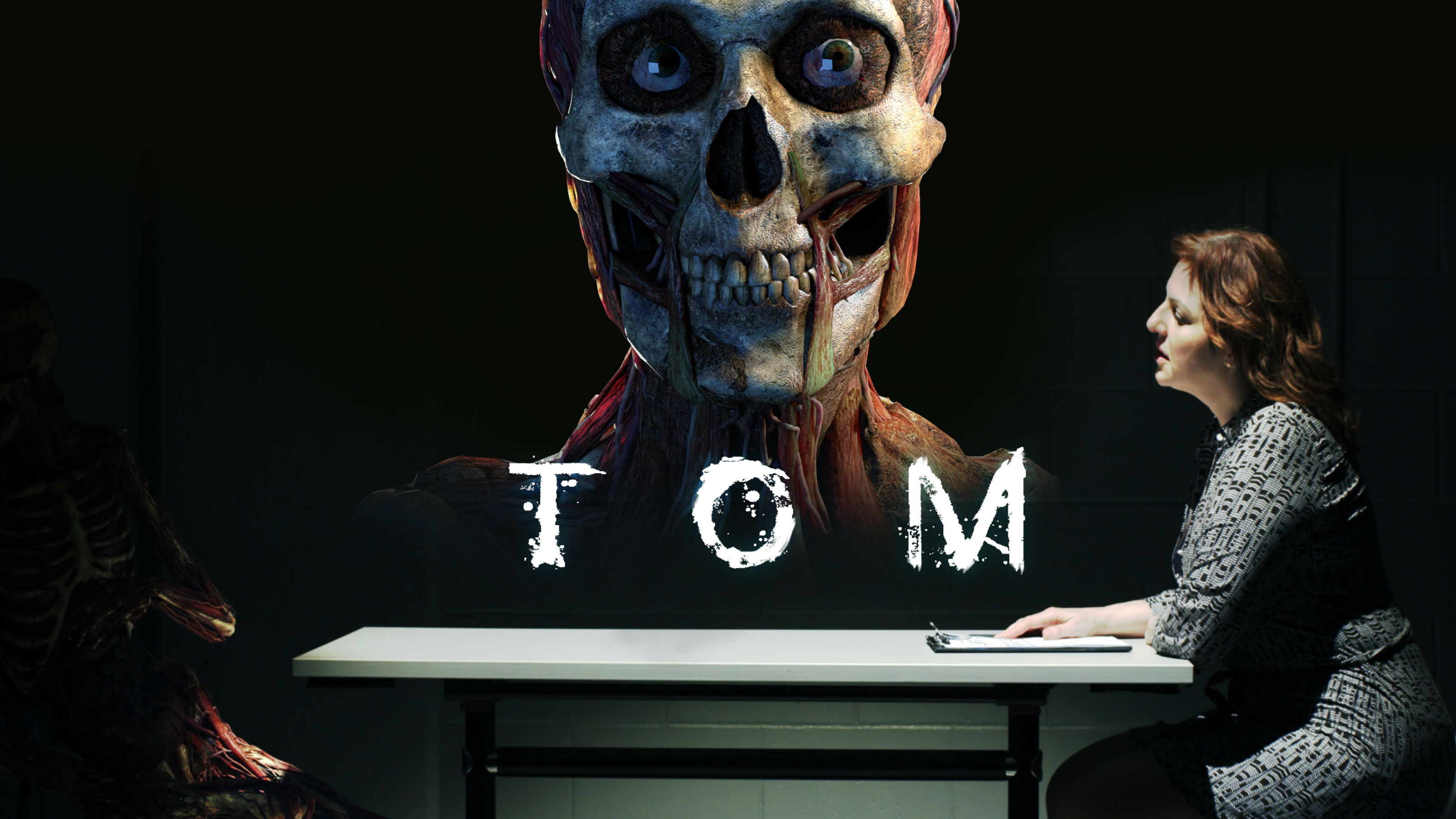 Skeletal face peers out on the move poster for film, Tom