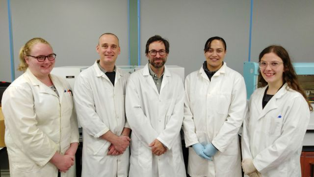 L:R Storm Blockley-Powell (MSc student), Dr Rob Keyzers (School of Chemical and Physical Sciences), Dr Andrew Munkacsi (School of Biological Sciences), Tia Haira (MSc student), and Lucie Thyne (MSc student).