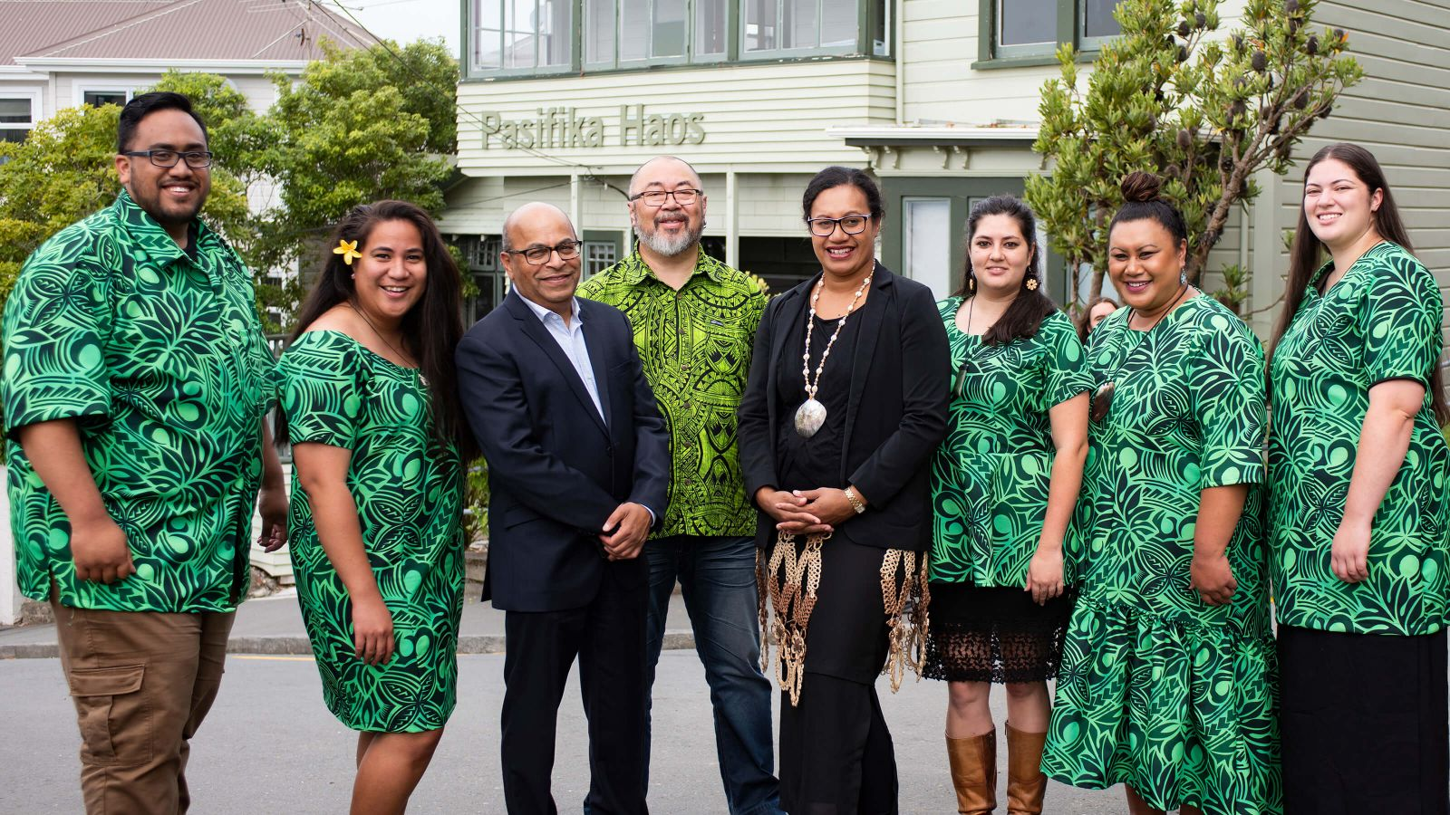 Pasifika Student Success team, in front of the Pasifika Haos on Mount Street