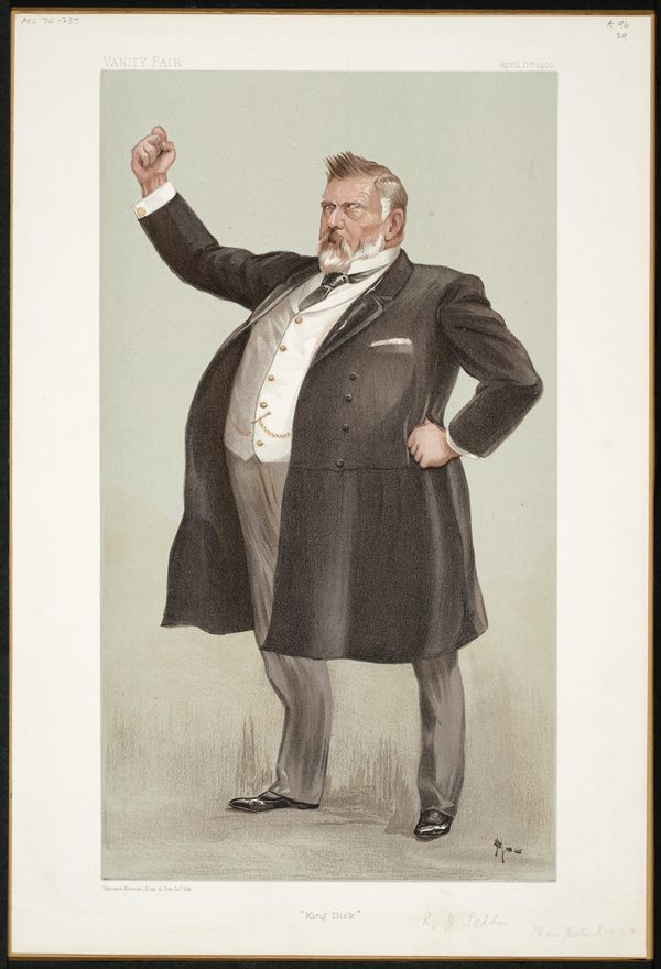 A painting of a man witih a large belly dressed in a late 1800's suit holding up a fist.