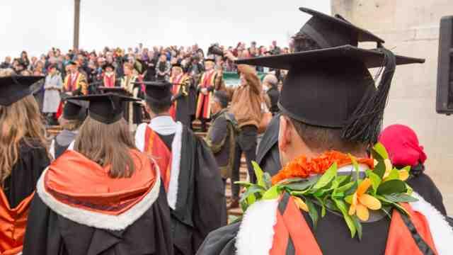 Graduands at Victoria's May graduation parade