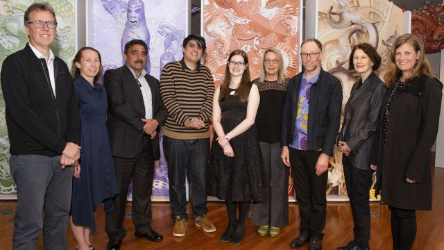 (From left to right) From Te Papa Tongarewa: Dr Dean Peterson, Courtney Johnston and Dr Arapata Hakiwai; scholarship recipients: Ben Manukonga and Laura Jamieson; from Victoria University of Wellington: Dr Lee Davidson, Dr Conal McCarthy, Professor Jennifer Windsor and Dr Lucy Baragwanath