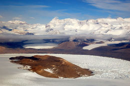 Royal Society Range, Transantarctic Mountains; Koettlitz Glacier and Heald Island in foreground c. Nick Golledge 2011-2012