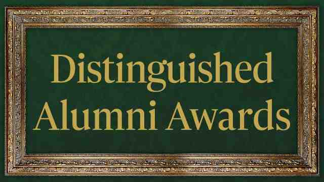 DIstinguished Alumni Awards text in a gold frame