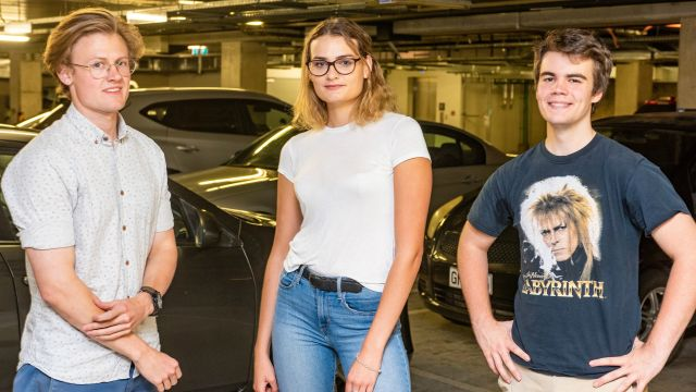 Keagan Kuhn, Kirstin Smith and Conor Grice have started a carpark business