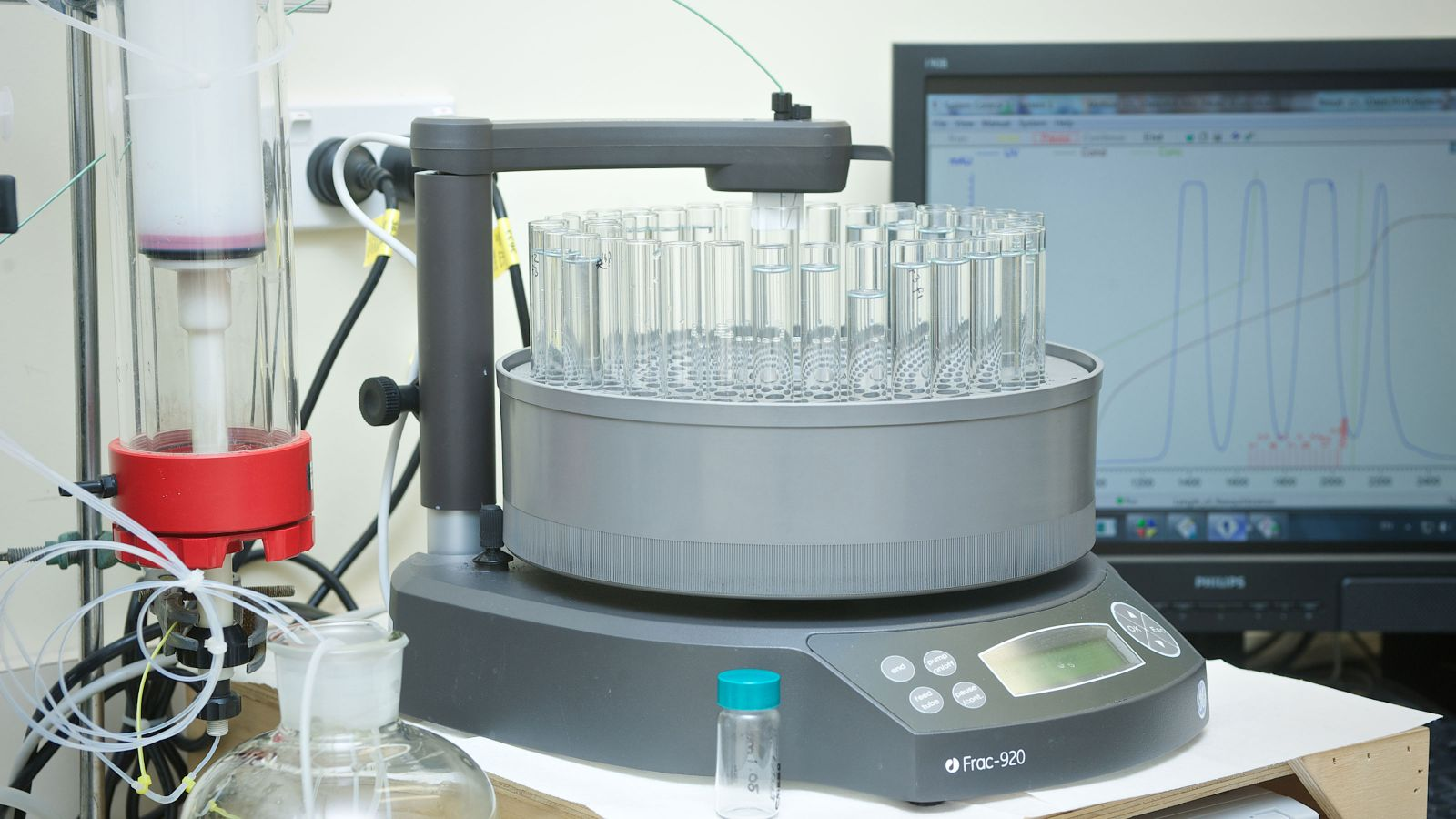 Photograph of a fraction collector used for carbohydrate analysis