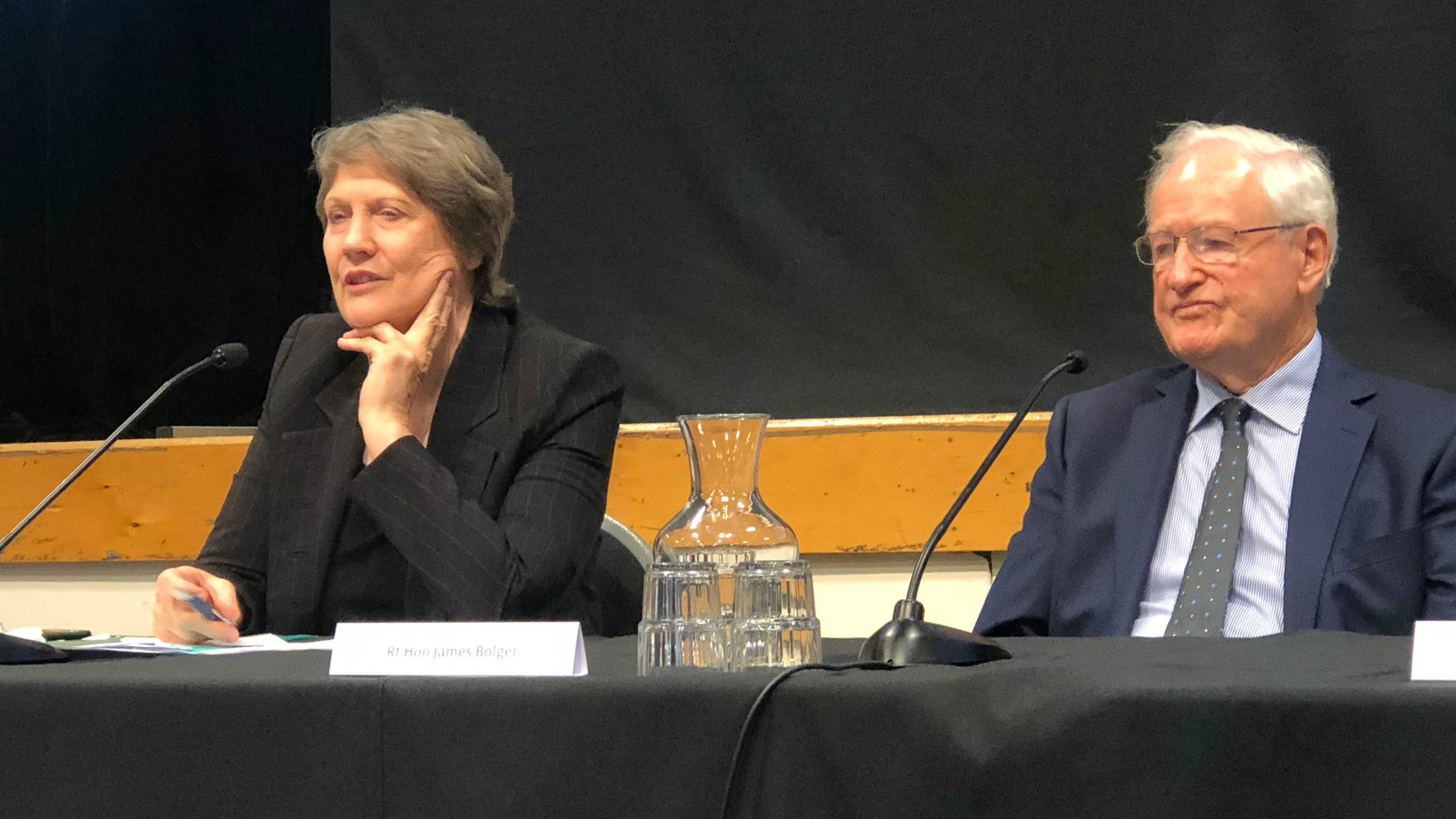 Helen Clark and Jim Bolger at MFAT conference