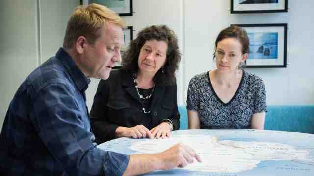 Dr Cliff Atkins, Provost Professor Wendy Larner and Dr Rebecca Priestley discussing plans for Antarctica online