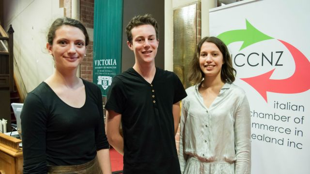 The winners of the Moving Words 2016 competition: Alva Feldmeier, Max Hall and Danielle Cooper.