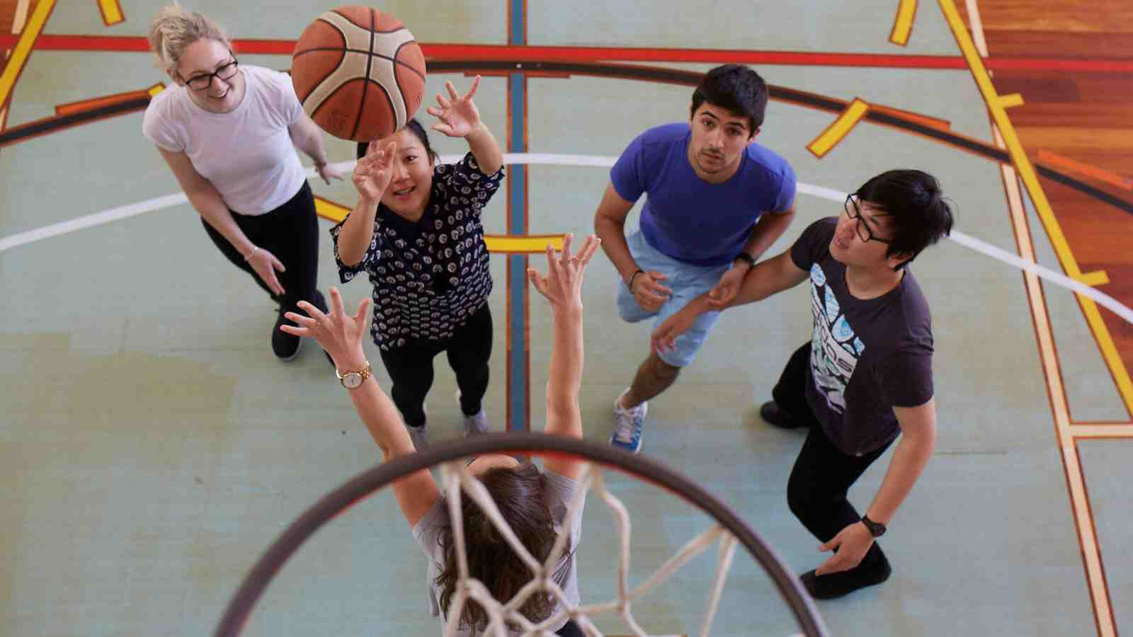 Students playing basketball at Victoria's Kelburn Recreation Centre