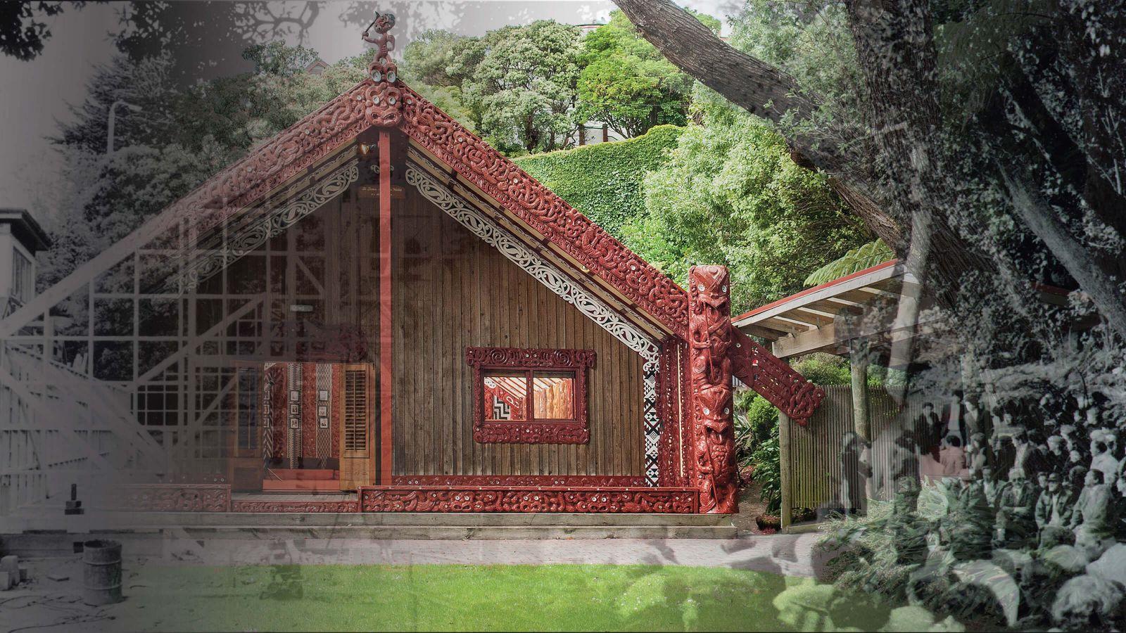 Te Herenga Waka Marae at Victoria University of Wellington, overlaid with black and white photographs of the wharenui during construction
