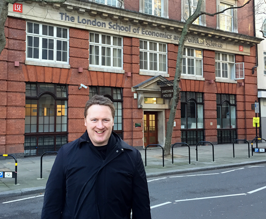 Dean Knight in front of the London School of Economics