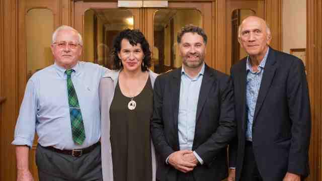 Professor Alex Frame (University of Waikato), Kerensa Johnston (Wakatū CEO), Dr Carwyn Jones and Rore Stafford (Wakatū Board Kaumatua).