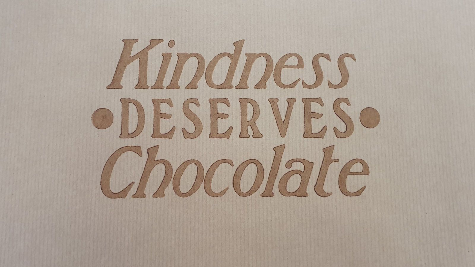 One of the wrappers printed at Wai-te-ata-Press with chocolate