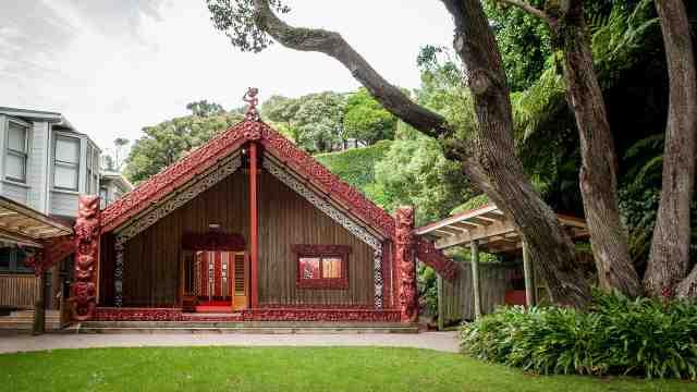 Te Herenga Waka Marae surrounded by native bush on the Kelburn campus