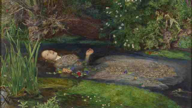 Ophelia floating a stream filled with reeds