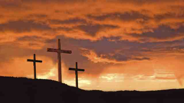 Easter crosses on a hill