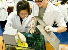 Biological Sciences students with a waterbath