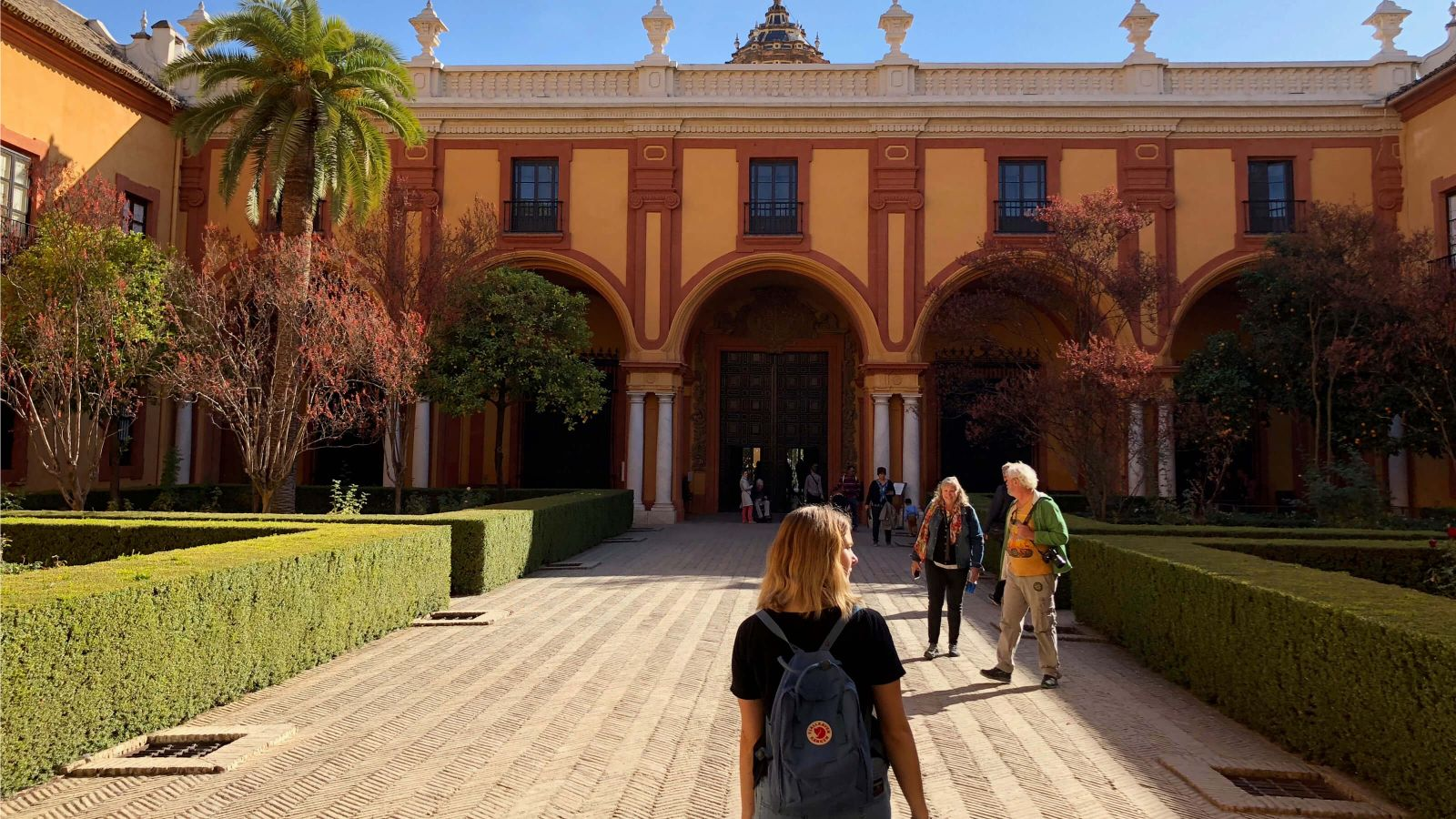 A student explores Denver Ingram at the Alcázar of Seville (the royal palace in Seville, Spain).
